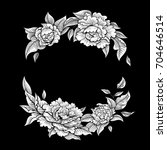 vector black and white peony... | Shutterstock .eps vector #704646514