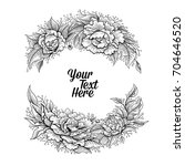 vector black and white peony...   Shutterstock .eps vector #704646520