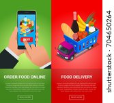 order food online. delivery... | Shutterstock .eps vector #704650264