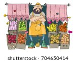 a cute bearded vendor stands in ... | Shutterstock .eps vector #704650414