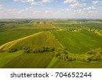 Aerial drone image of farmland landscape in Iowa USA