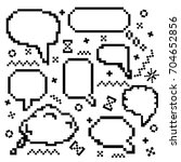 vector icons set with pixel art ...