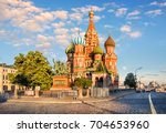 st. basil's cathedral on red... | Shutterstock . vector #704653960