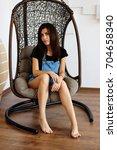 a pretty brunette with long... | Shutterstock . vector #704658340