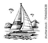 sailing ship vector sketch. a... | Shutterstock .eps vector #704660638