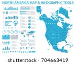north america map   detailed... | Shutterstock .eps vector #704663419