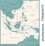 southeast asia map   vintage... | Shutterstock .eps vector #704663473