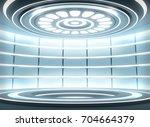 futuristic empty stage. modern... | Shutterstock . vector #704664379