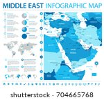 middle east map   detailed info ... | Shutterstock .eps vector #704665768