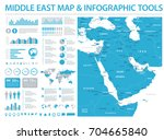 middle east map   detailed info ... | Shutterstock .eps vector #704665840