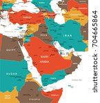 middle east map   detailed... | Shutterstock .eps vector #704665864