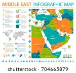 middle east map   detailed info ... | Shutterstock .eps vector #704665879