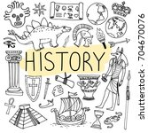 history hand drawn doodles.... | Shutterstock .eps vector #704670076