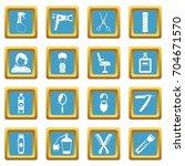 hairdressing icons set in blue... | Shutterstock .eps vector #704671570