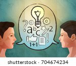 two people brainstorming and... | Shutterstock . vector #704674234
