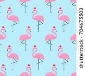 flamingo in xmas hat seamless... | Shutterstock .eps vector #704675503