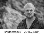 black and white casual portrait ... | Shutterstock . vector #704676304