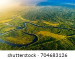 aerial view of a rainforest in... | Shutterstock . vector #704683126