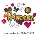 princess illustration with... | Shutterstock .eps vector #704687974