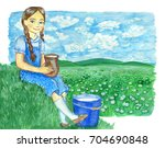 sitting girl with jar and... | Shutterstock . vector #704690848