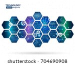 Abstract technology background with hexagons and gear wheels. Hi-tech circuit board vector illustration | Shutterstock vector #704690908
