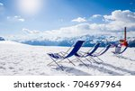 relaxing ski holidays in the... | Shutterstock . vector #704697964