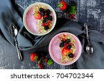 smoothie with berries and... | Shutterstock . vector #704702344