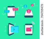 set of media and social network ... | Shutterstock .eps vector #704705470