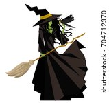 evil green witch with raven... | Shutterstock .eps vector #704712370