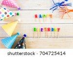 acessories for kids birthday... | Shutterstock . vector #704725414