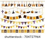 Halloween Garland Line Vector...