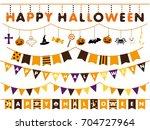 halloween garland line vector... | Shutterstock .eps vector #704727964