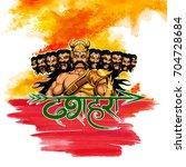llustration of raavana with ten ... | Shutterstock .eps vector #704728684