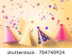 colorful party hats for kids... | Shutterstock . vector #704740924