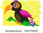 colorful parrot on a branch | Shutterstock .eps vector #70475020