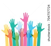 hands raising love with heart | Shutterstock .eps vector #704757724