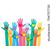 hands raising love with heart | Shutterstock .eps vector #704757730