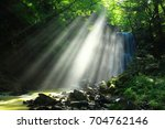 summer kameda fudo waterfall | Shutterstock . vector #704762146