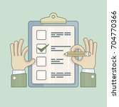 checklist with checkmark on and ... | Shutterstock .eps vector #704770366