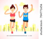 young couple running jogging... | Shutterstock .eps vector #704771656