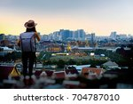 young asian people hikers in... | Shutterstock . vector #704787010