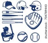 set of baseball design elements.... | Shutterstock .eps vector #704789443