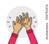 high five illustration with two ... | Shutterstock .eps vector #704792476
