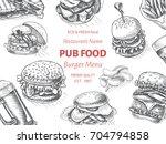 vector sketch of fast food pub... | Shutterstock .eps vector #704794858