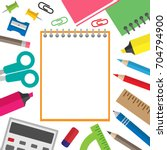 notebook and school stationery... | Shutterstock .eps vector #704794900