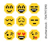 set of pixel smiles. retro pop... | Shutterstock .eps vector #704797390