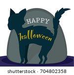 black cat on gravestone  happy... | Shutterstock .eps vector #704802358