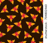 seamless pattern with autumn... | Shutterstock .eps vector #704802460