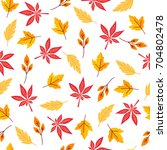 seamless pattern with autumn... | Shutterstock .eps vector #704802478