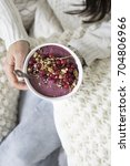 acai smoothie bowl | Shutterstock . vector #704806966